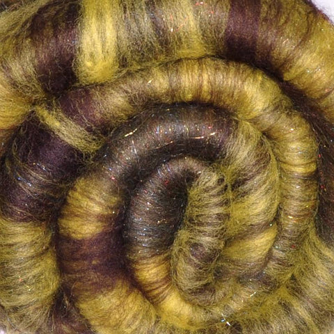 Spinning fiber batt, mixed fibers - Mysterious Marsh - 2.0 ounces