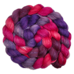 Hand painted silk / Polwarth wool roving for hand spinning and felting