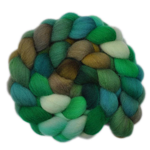 Cheviot Wool Roving - Floating Leaves 2 - 4.2 ounces
