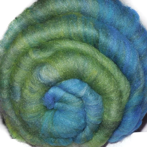 Spinning fiber batt, mixed fibers - Pondside Dream - 1.9 ounces