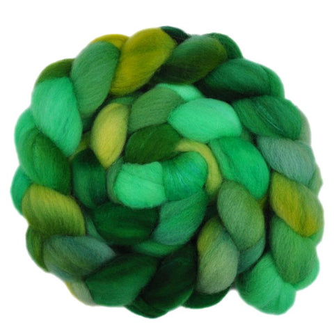 Silk / Shetland 30/70% Wool Roving - Greening Tree 2 - 4.0 ounces