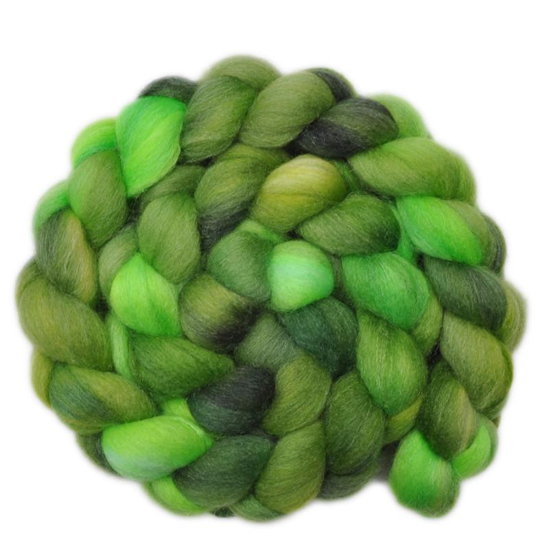 Hand painted silk / Falkland wool roving for hand spinning