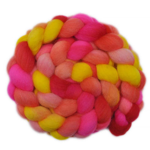 BFL Wool Roving - Glowing with Pride 2 - 3.9 ounces