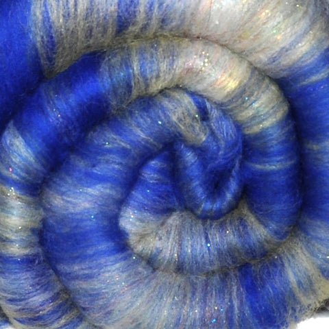 Spinning fiber batt, mixed fibers - Choppy Waters - 2.3 ounces