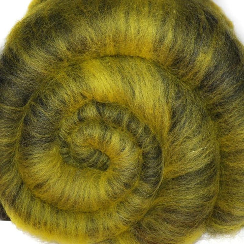 Spinning fiber batt, mixed fibers - Flush of Spring - 1.9 ounces