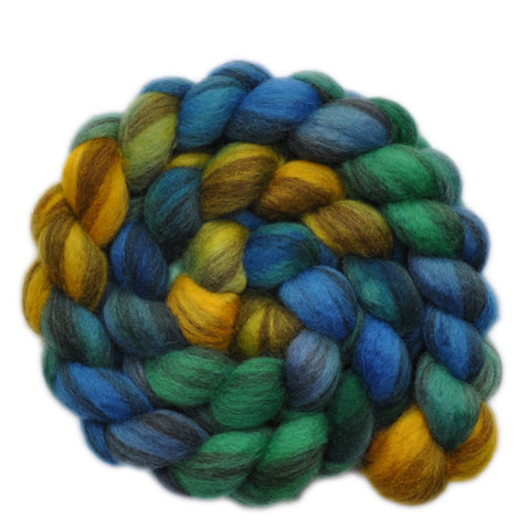 BFL Humbug Wool Roving - High Tide 2 - 4.1 ounces