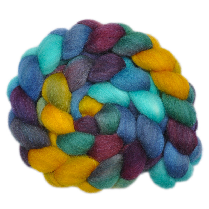 Hand painted silk / Falkland wool roving for handspinning and felting