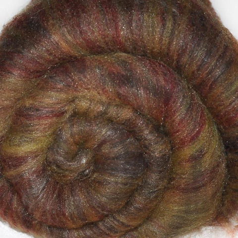 Spinning fiber batt, mixed fibers - Forest Floor Litter - 2.0 ounces