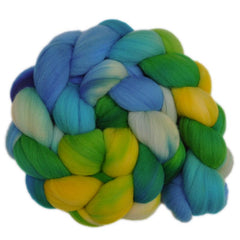 Hand painted Rambouillet wool roving for hand spinning and felting