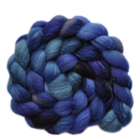 Silk / Shetland 30/70% Wool Roving - Wave Action 2 - 4.1 ounces