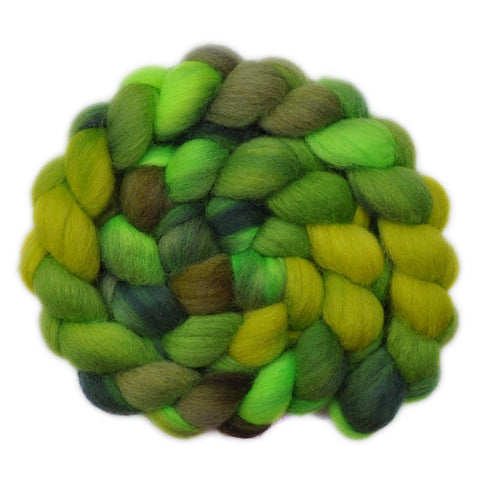 Hand painted Cheviot wool / trilobal nylon roving for hand spinning