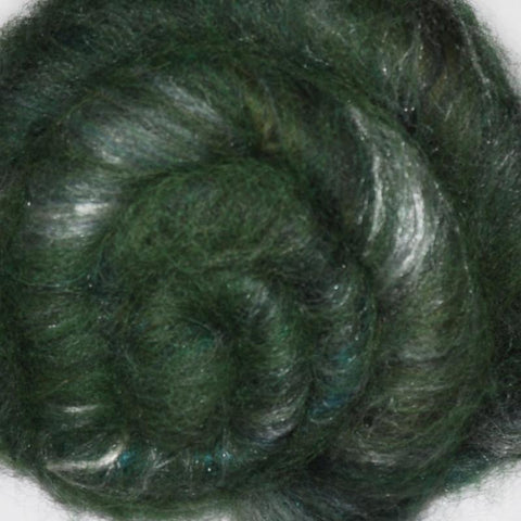 Spinning fiber batt, mixed fibers - Verdigris - 1.8 ounces