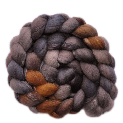 Silk / Shetland 30/70% Wool Roving - Scrap Iron 2 - 3.8 ounces
