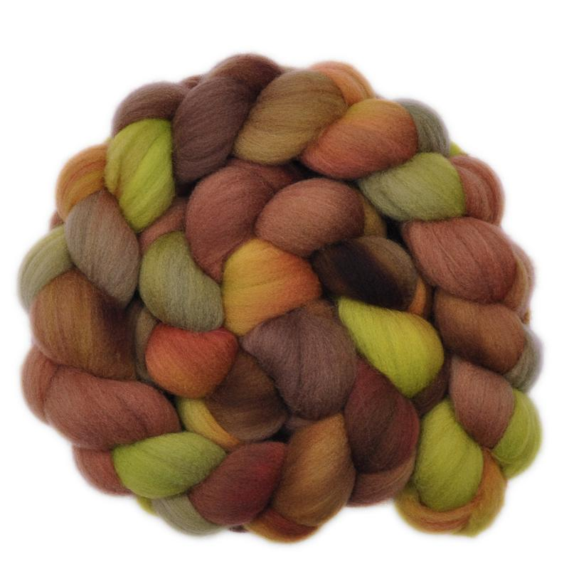 Hand painted Targhee wool roving for hand spinning and felting