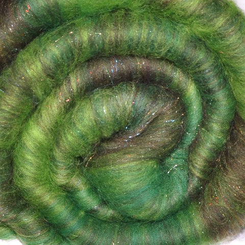 Spinning fiber batt, mixed fibers - Green Garland - 2.0 ounces