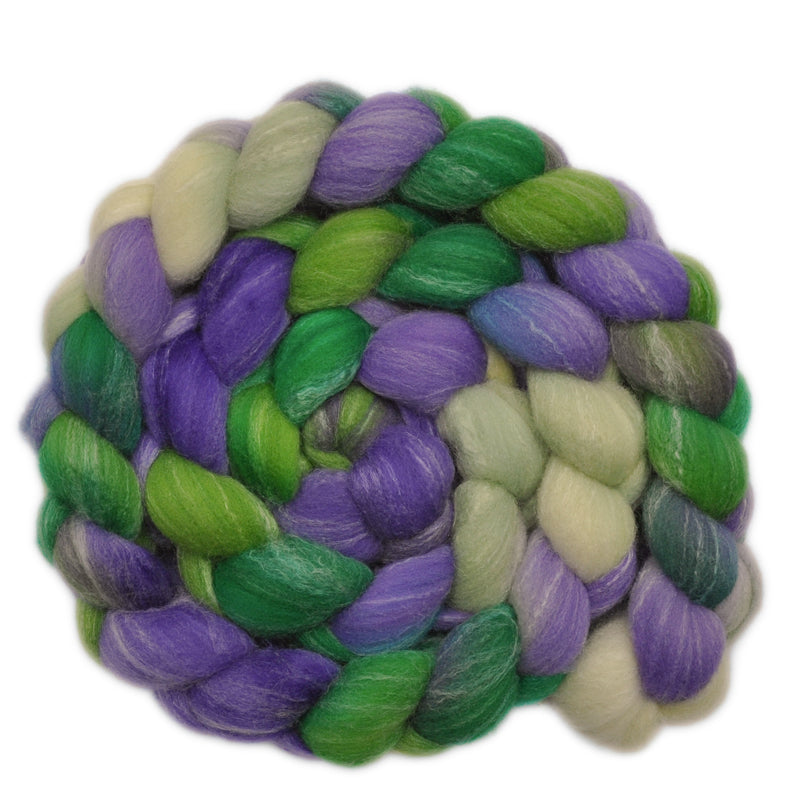 Hand painted Silk / Bamboo / Targhee wool roving for hand spinning