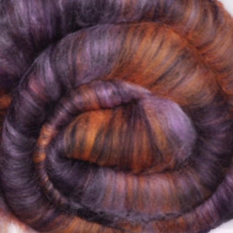 Spinning fiber batt, mixed fibers - Dowager Aunt - 2.0 ounces