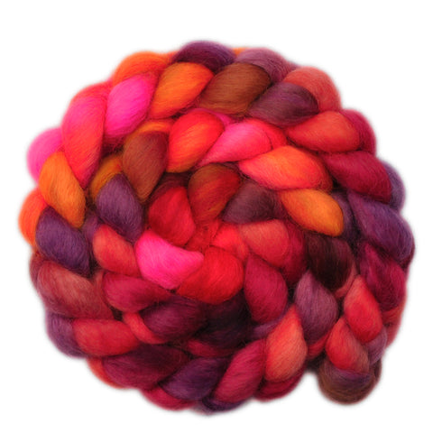Wensleydale Wool Roving - Flames of Love - 4.1 ounces