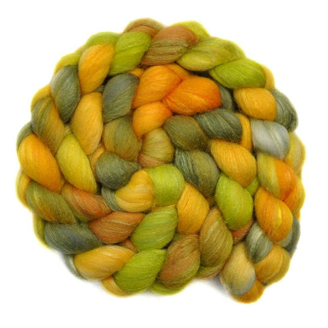 Silk / Polwarth 40/60% Wool Roving - Ephemeral Spring 2 - 4.0 ounces