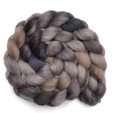 Silk / BFL 25/75% Wool Roving - Gray Cliffs 1 - 4.1 ounces