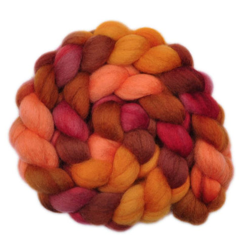 BFL Wool Roving - Fiery Furnace - 4.1 ounces