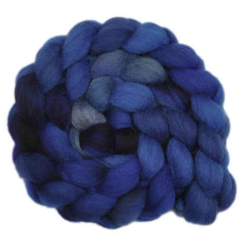 Finn Wool Roving - Blue Depths 2 - 4.1 ounces
