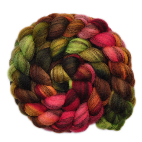 BFL Humbug Wool Roving - Forest Heart - 4.0 ounces