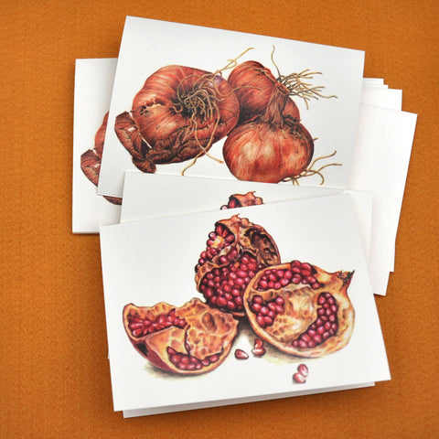 Blank Notecards, Set of Four - Proceeds to Charity - Original Drawings by Ilga - Pomegranate & Shallots