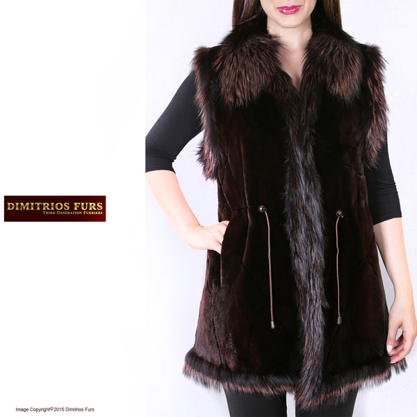Brown Sheared Beaver Vest with Fox Trim