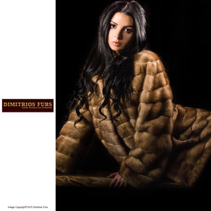Fur Coat - Golden Mink Wing Collar Coat