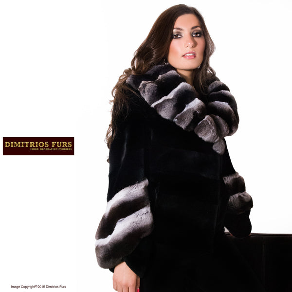 Fur Coat - Black Velvet Sheared Mink with Chinchilla Trim