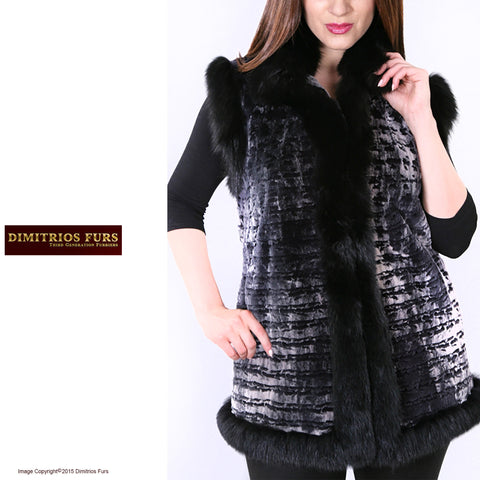 Charcoal Frost Sheared Beaver Vest with Fox Trim