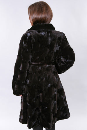 Brown Sheared Mink Section Coat with Belt