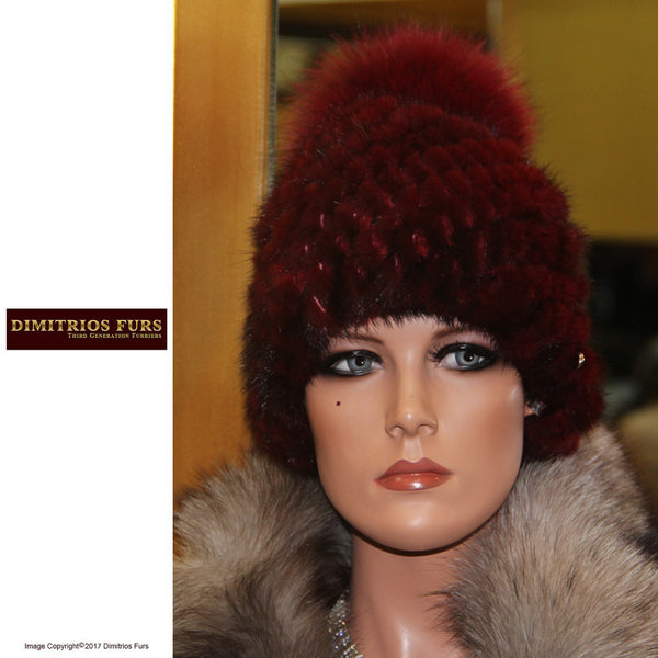 Burgundy Knit Mink with Fox Pom-Pom