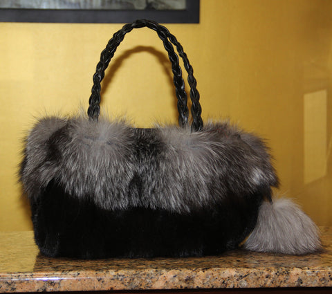 Mink Bag with Silver Fox & Pom Pom