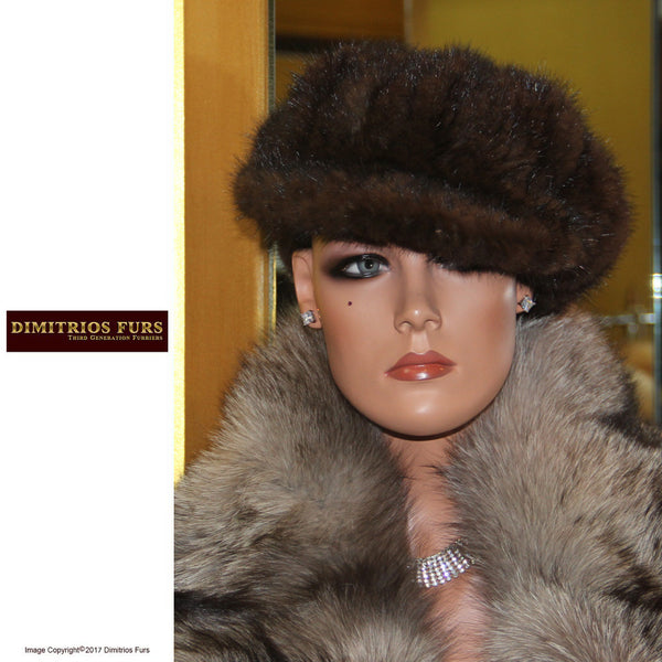 Mahogany Mink Knitted Hat