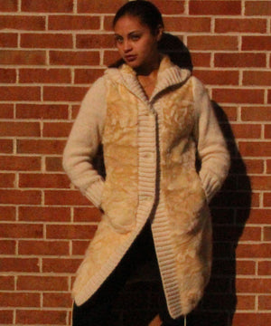 Ivory lamb sweater with fur lined hood