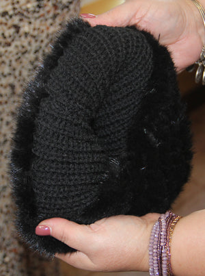 Black Mink Knitted Hat with Fox Pom Pom