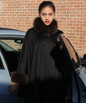 Loro Piana Cape with fox trim