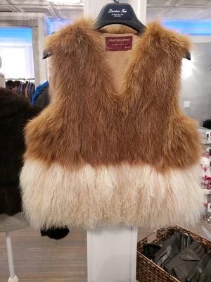 Tibetan Lamb vest with fox