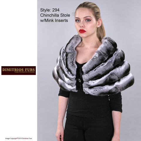 Custom Fur - Chinchilla Stole with Mink Inserts