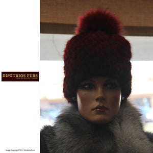 Burgundy Mink Knitted Hat with Matching Pom Pom