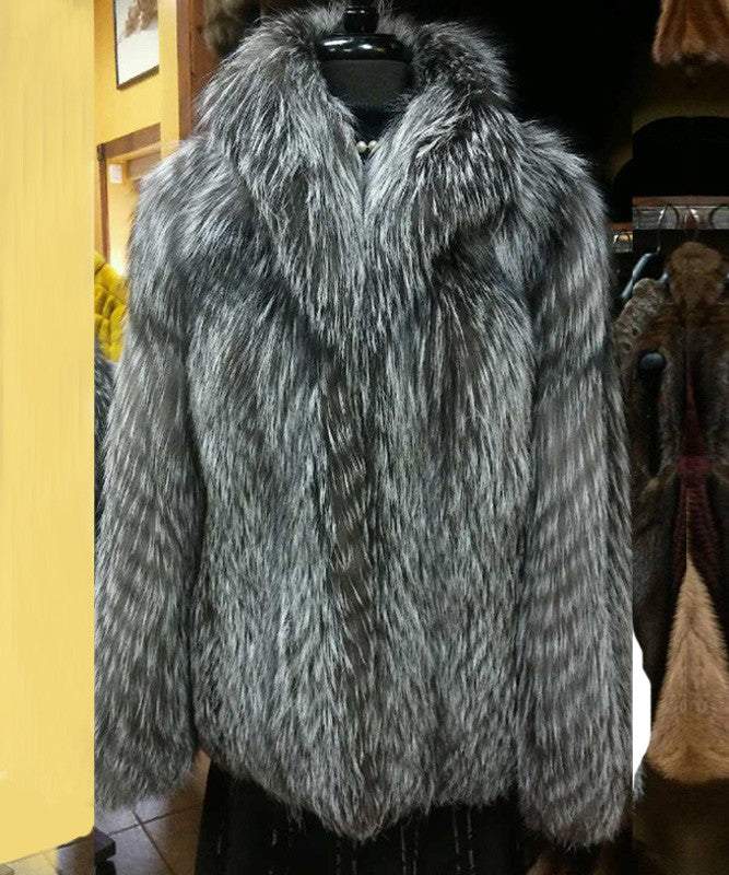 Silver Feathered Fox Jacket Genuine Fur