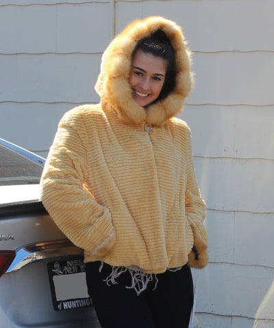 Dyed Yellow w/Carving & w/Hood & Sable Trim