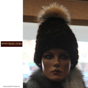 Mahogany Mink Knitted Hat with Fox Pom Pom