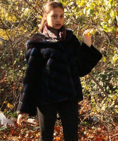 Midnight blue striped mink jacket with hood
