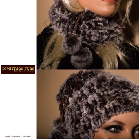 Women's Fur Hats - Snow Cap Fur Knit Convertible Hat