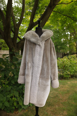 Astrakhan Lamb Coat w/ Toscana Long Hair Trim Hood - Reversible