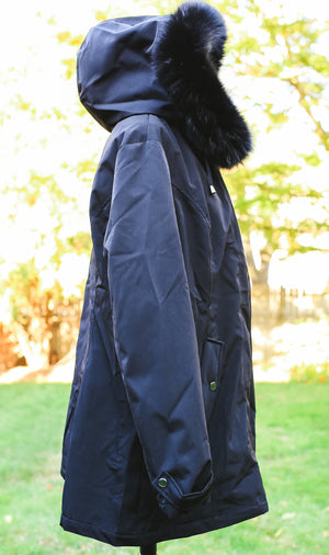 Black Fox Trim Light Weight Canvas Jacket with Hood