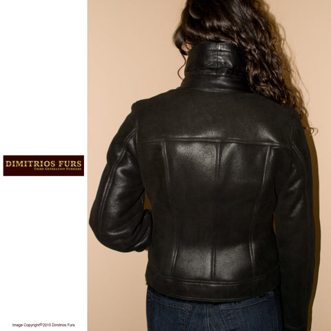 Short Black Merino Leather and Shearling Jacket